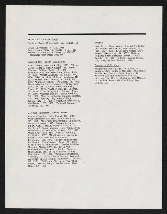 Priscilla Kepner Sage [Resume] - Friends of Fiber Art